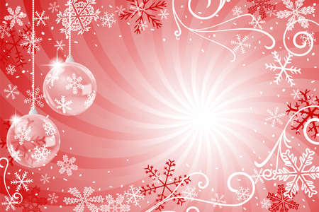 vector illustration of a decorated christmas background with christmas tree balls Ilustração