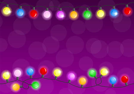 vector illustration of a chain of christmas lights  イラスト・ベクター素材