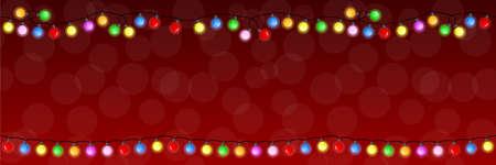 ilustración vectorial de una cadena de luces navideñas Ilustración de vector