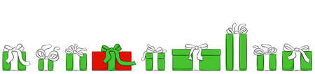 vector illustration of a banner with christmas gifts isolated on white