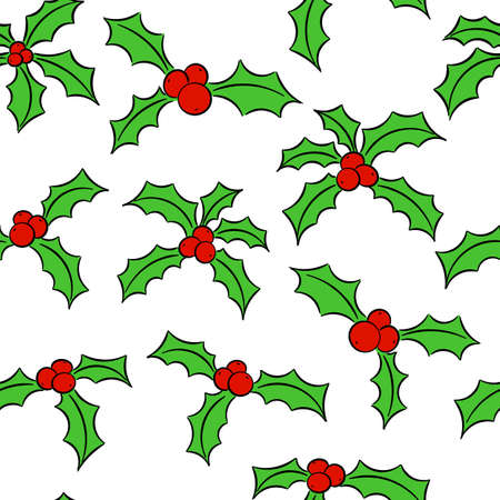 vector illustration of seamless holly pattern
