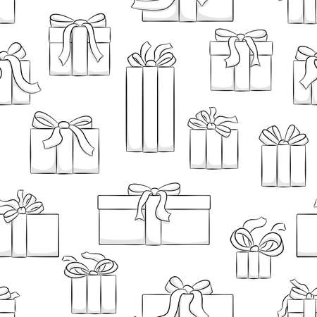 vector illustration of seamless christmas gifts pattern Ilustração