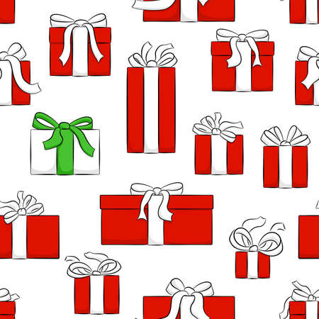 vector illustration of seamless christmas gifts pattern  イラスト・ベクター素材
