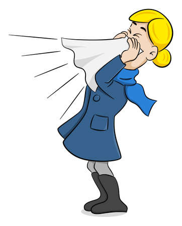 vector illustration of a sneezing woman with handkerchief