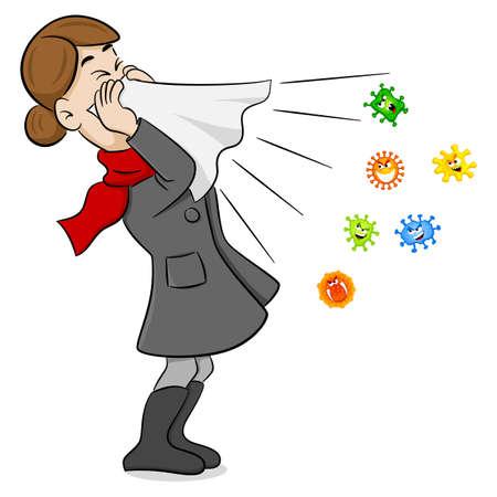 Vektor-Illustration einer niesenden Frau mit Keimen