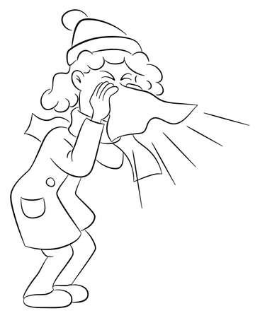 Vektor-Illustration einer niesenden Frau mit Taschentuch