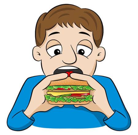 vector illustration of a cartoon man eating a hamburger