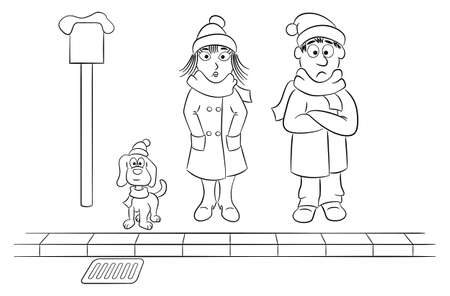 vector illustration of a group of people waiting and shivering at a stop in winter