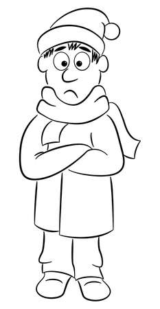 vector illustration of a man with a thick coat, a scarf and a cap that freezes