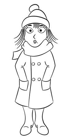 vector illustration of a woman with a thick coat, a scarf and a cap that freezes