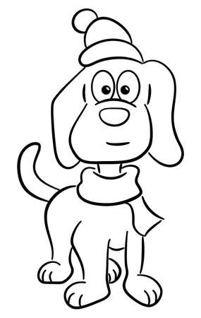 vector illustration of a dog with scarf and hat