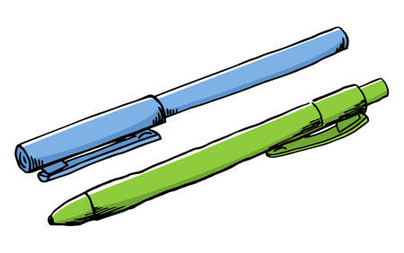 vector illustration of a hand drawn felt tip pen and a ballpoint pen Banque d'images - 125037674