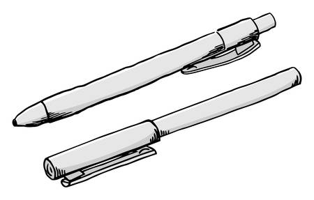vector illustration of a hand drawn felt tip pen and a ballpoint pen Banque d'images - 125037679