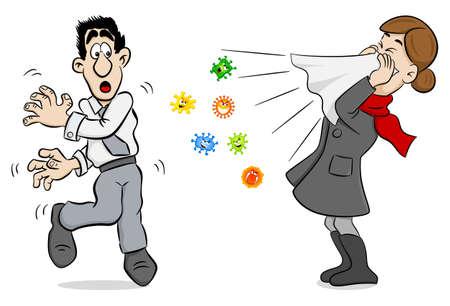 vectorillustratie van een niezende vrouw met ziektekiemen