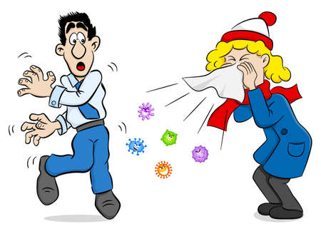 vector illustration of a sneezing woman with germs