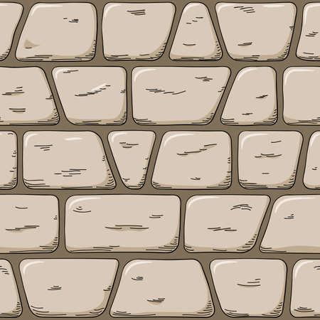 Vektor-Illustration einer nahtlosen handgezeichneten Cartoon-Wand Vektorgrafik