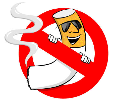 vector illustration of a no smoking sign with cartoon cigarette Vector Illustration