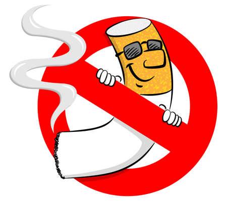 Ilustración vectorial de un cartel de no fumar con cigarrillo de dibujos animados