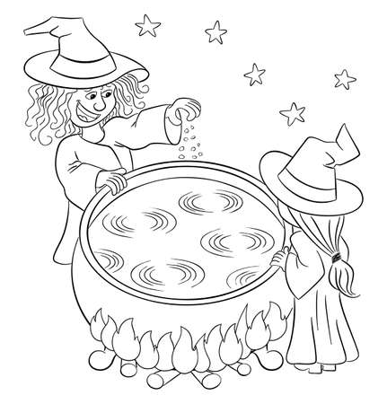 vector illustration of two witches cooking a magic potion in the cauldron