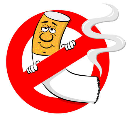 vector illustration of a no smoking sign with cartoon cigarette Vecteurs