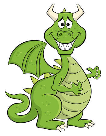 vector illustration of a embarrassed grinning cartoon dragon
