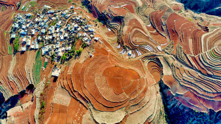 Aerial View of Dongchuan Red Land, located in the town of Xintian, 40km southwest of Kunming City, southwest China's Yunnan Province, China.