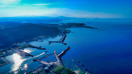 Aerial view of Taiwan Northeast Coast, Keelung City, Taiwan. Stock Photo