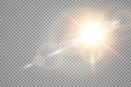 Vector transparent sunlight special lens flare light effect. Sun flash with rays and spotlight. Vector