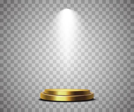 Round podium, pedestal or platform illuminated by spotlights on white background. Ilustrace