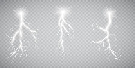 Set of lightnings. Thunder-storm and lightnings. Magic and bright lighting effects. Vector illustration Ilustração