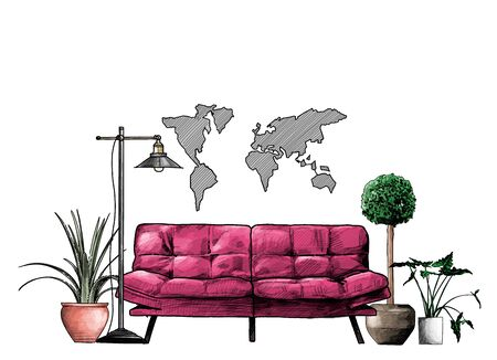 loft style interior sofa flowers floor lamp and decorative map on the wall, sketch vector graphics color illustration on white background