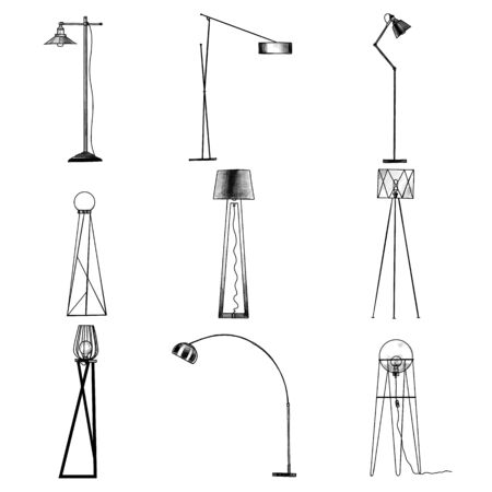 set of floor lamps for interior in loft style, sketch vector graphics monochrome illustration on white background