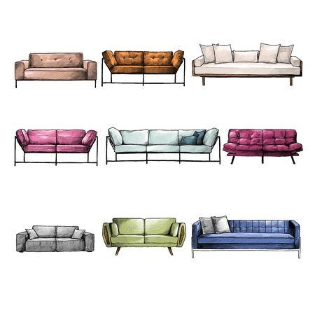 set of sofas for interior in loft style, sketch vector graphics color illustration on white background Illusztráció