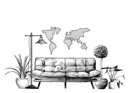 loft style interior sofa flowers floor lamp and decorative map on the wall, sketch vector graphics monochrome illustration on white background