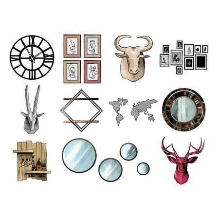 set of decorative elements on the wall for the interior in the loft style, sketch vector graphics color illustration on a white background Ilustrace