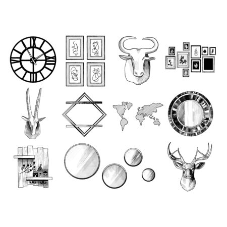 set of decorative elements on the wall for the interior in the loft style, sketch vector graphics monochrome illustration on a white background Ilustrace