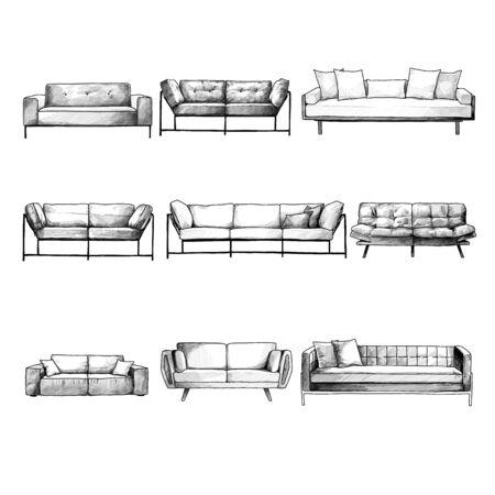 set of sofas for interior in loft style, sketch vector graphics monochrome illustration on white background Illusztráció