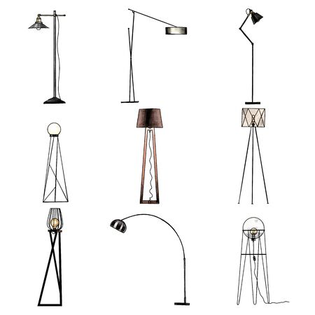 set of floor lamps for loft style interior, sketch vector graphics color illustration on white background