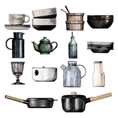 home tableware set, sketch vector graphics color illustration on white background