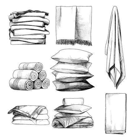 linge de maison ensemble serviettes oreillers couvertures, croquis graphiques vectoriels illustration monochrome sur fond blanc Vecteurs