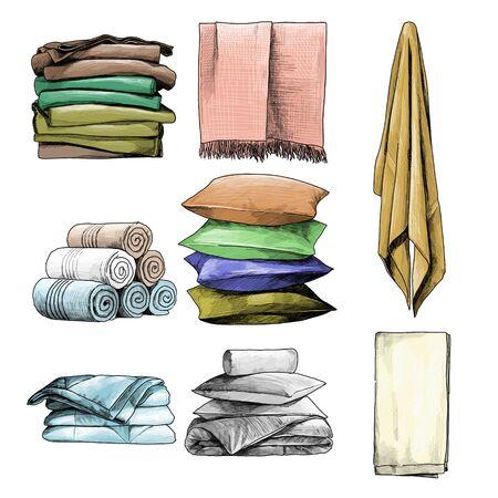 linge de maison ensemble serviettes oreillers couvertures, croquis graphiques vectoriels illustration couleur sur fond blanc