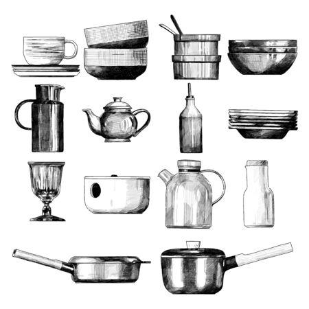 home tableware set, sketch vector graphics monochrome illustration on white background Illusztráció