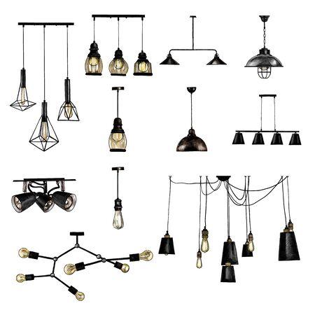 set of modern loft style ceiling lights, sketch vector graphics color illustration on white background
