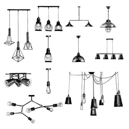 set of modern loft style ceiling lights, sketch vector graphics monochrome illustration on white background