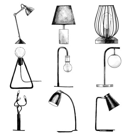 set of table lamps in loft style, sketch vector graphics isolated color illustrations