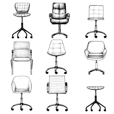 set of office chairs in the loft style for selecting and compiling the interior, sketch vector graphics isolated monochrome illustrations on a white background