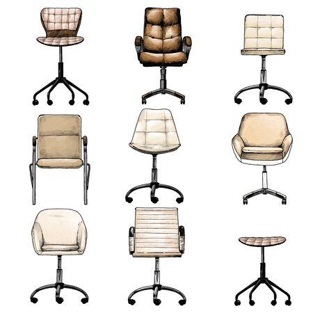 set of office chairs in the loft style for selecting and compiling the interior, sketch vector graphics isolated color illustrations on a white background