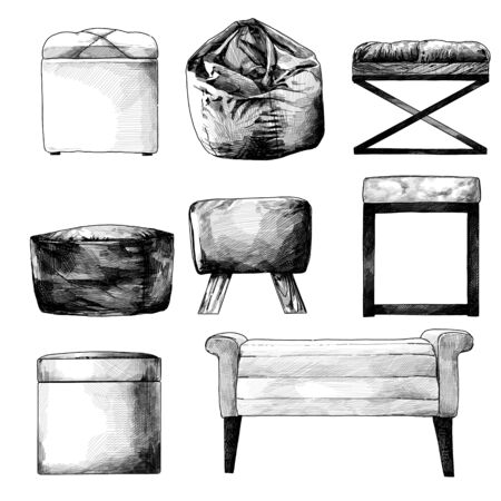 set of seat puffs and bags in the loft style for selecting and composing the interior, sketch vector graphics isolated monochrome illustrations on a white background