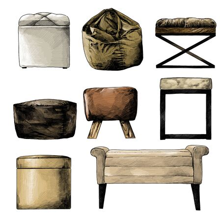 set of seat puffs and bags in the loft style for selecting and composing the interior, sketch vector graphics isolated color illustrations on a white background Çizim