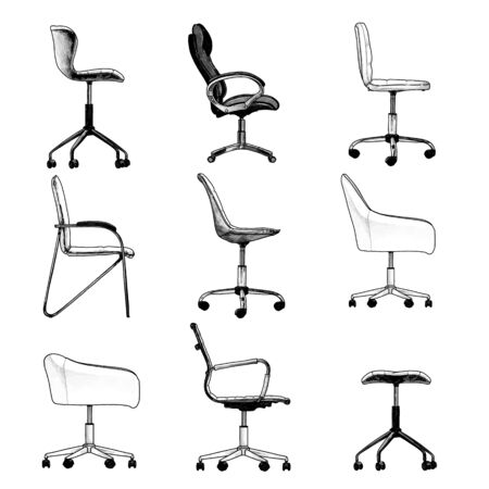 set of office chairs in the loft style side view for drawing up and design of individual interior, sketch vector graphics isolated drawings on a white background Illusztráció